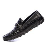 鳄鱼纹头层牛皮男士豆豆鞋大码软底休闲驾车透气懒人皮鞋厂家直销