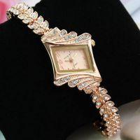 欧美爆款 菱形镶钻 点钻手镯手链女表 叶子合金钢带手表 女款