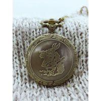 青铜经典复古 爱丽丝梦游仙境兔子怀表 复古纪念牛仔链表 项链表