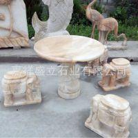 供应石桌石凳庭院户外仿古圆桌家用别墅休闲桌椅摆件