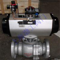 气动软密封法兰碳钢液化气球阀Q641F-40C DN150 AT气动执行器带三联件
