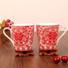 情侣刷牙杯 喜字红色茶杯 婚房布置对杯定制 洗漱套装婚庆用品