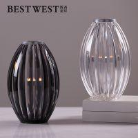创意条纹造型小口玻璃亚克力烛台摆件现代餐厅桌面装饰品蜡烛器皿