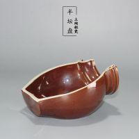 农家特色陶瓷创意境餐具土陶半坛盘半罐碗不规则瓷盘子饭店71号c
