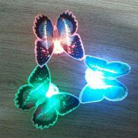 七彩LED发光光纤蝴蝶圣诞树小夜灯双面胶可粘贴闪光地摊圣诞玩具