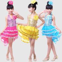 六一女童拉丁舞蹈服装女孩蓬蓬纱裙亮片小短裙儿童舞台表演燕尾裙
