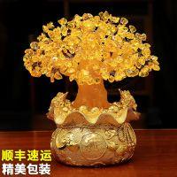 工艺客厅小发财树客厅摆件摆设收藏黄金色财神树鸿运当头招财树