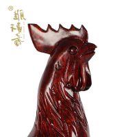 摆件红木雕刻生肖鸡工艺品 实木质大公鸡家居风水摆件大号36cm