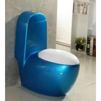 公共卫生间爆款蓝色彩金欧式连体陶瓷座便器马桶