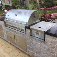 304不锈钢嵌入式燃气烧烤炉 嵌入式户外庭院烧烤炉气碳两用烧烤台
