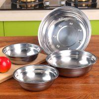 不锈钢盆 厨房加厚成人带磁不锈钢碗家用圆形中式饭菜汤盘批发