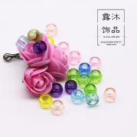厂家直销亚克力桶珠 塑料透明大孔珠 diy饰品配件 6-10mm