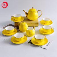 唐山唯奥骨瓷工厂批发陶瓷咖啡杯碟套装 骨瓷南瓜杯碟 定制咖啡具套