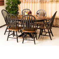 包邮美式全实木餐桌可伸缩橡木圆桌家用拉伸饭桌折叠桌餐桌椅组合