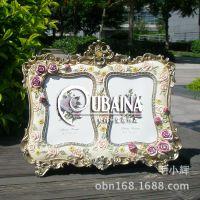 5寸双孔欧式创意树脂复古奢华相框田园家居橱柜装饰摆件做旧相架
