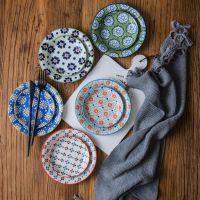 日本进口波西米亚风多彩花卉陶瓷碟子点心碟蛋糕盘