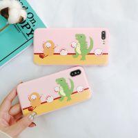 可爱恐龙小怪兽苹果x手机壳iphone8/7plus全包笑脸挂绳6s保护套女
