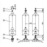 35kV70kN盘型悬式(复合)绝缘子双联单挂点双线夹悬垂串