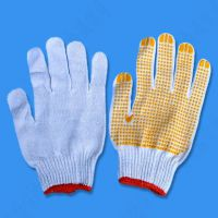 防滑点胶防护手套耐磨点珠胶纱线拔河手套点塑工业劳保棉纱手套