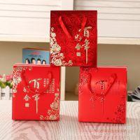 厂家供应丝带花朵糖果套装盒定制中式个性创意方形结婚喜糖盒