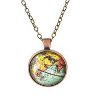 ebay速卖通爆款 外贸热销复古地球地图时光宝石玻璃项链吊坠饰品