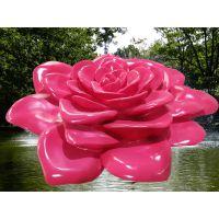 定制玻璃钢仿真玫瑰花雕塑景点喷泉摆件装饰现货树脂彩绘造型模型