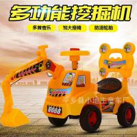 儿童电动挖土机 可坐可骑挖掘机 带音乐宝宝挖机 玩具四轮工程车