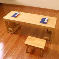 山西原木色国学桌 国学桌椅尺寸 双人国学课桌椅 幼儿园书法桌 山西国学桌厂家