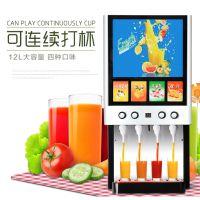 现调果汁机亿美科四头冷热双温果汁饮料机 商用全自动浓缩果汁机