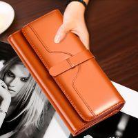 纯皮三折女士钱包长款搭扣真皮牛皮大钞夹大容量韩版女式钱夹皮夹