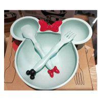 小麦秸秆米奇碗可爱卡通儿童餐具叉勺套装 礼品米妮蝴蝶结餐具