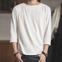 马登工装 美式休闲白色七分袖t恤夏季男士简约纯棉半袖青年打底衫