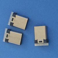 USB 3.1 TYPE-C 24P 母座 夹板0.8 外露10.5 铆合 黑胶 大间距