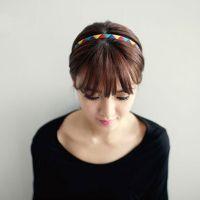 韩国时尚个性淑女范亮彩拼接三角形发带 原宿头带韩式彩虹发箍