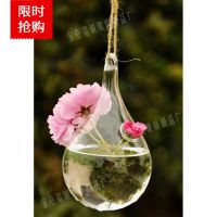 可悬挂透明水滴型水培花瓶 插花养花器皿 家居工艺饰品
