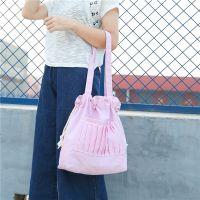 韩国ulzzang清新抽绳帆布单肩包学生文艺女手提包简约环保购物袋