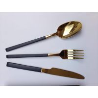 304不锈钢叉勺、牛排刀叉、镀金西餐具酒店用品、名瑞餐具厂批发