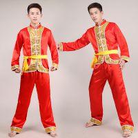 中国风男款打鼓服舞龙舞狮表演服民族舞秧歌服舞蹈服装成人