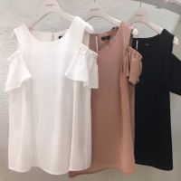 外贸出口日本订单2016年夏季漏香肩小性感甜美衬衫上衣