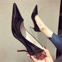 鞋子女2018夏季新款韩版百搭细跟尖头高跟鞋黑色外穿中跟漆皮单鞋