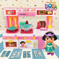 爱探险的朵拉儿童仿真厨房玩具套装过家家女童孩厨具做饭餐具礼物