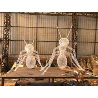 公园绿地不锈钢蚂蚁雕塑、大型景观不锈钢编织蚂蚁雕塑与镜面效果PK大图