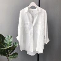 2018春装新款亚麻棉麻料衬衫女长袖韩版中长款外穿衬衣外搭衣服潮