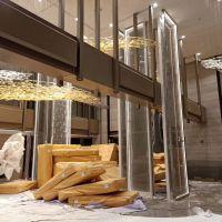 现代不锈钢屏风 酒店简约金属屏风金属挂屏 玻璃隔断墙高隔断屏风