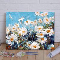 diy风景油画客厅数字花卉动漫人物手绘定制大幅填色装饰画千菊飞