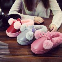 新款棉拖鞋女高跟棉鞋冬季保暖加绒厚底PU皮室内可爱月子毛球鞋