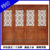 东阳木雕仿古门窗中式装修电视背景墙实木镂空花格 隔断屏风定做