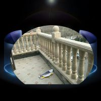 别墅柱形石雕栏杆 纺锤形白玉石雕护栏