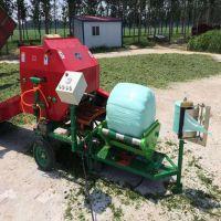 保存饲料成套设备 润丰 自动落膜打捆包膜机 保存草料营养打包机
