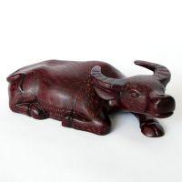 礼品摆件木雕牛摆件 十二生肖卧牛23cm 红木工艺品木雕刻品 家居